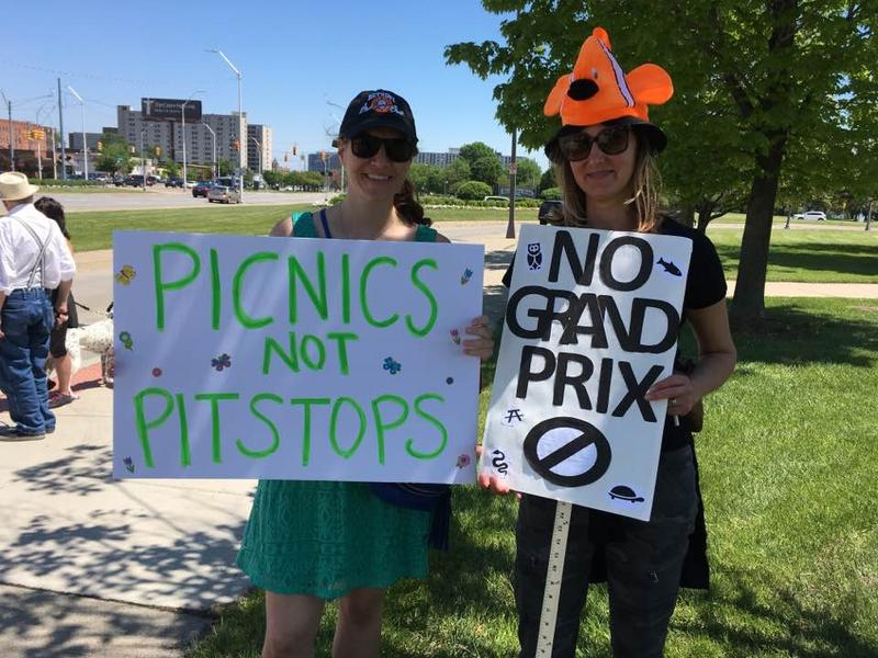 Two of the protesters against holding the Detroit Grand Prix on Belle Isle.