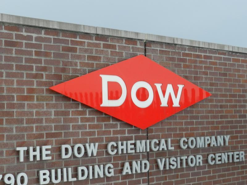 A sign on a Dow Chemical Company building