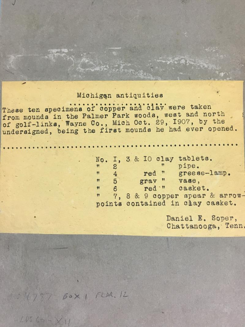 "A listing of a supposed discovery of ""Michigan"" or ""Soper"" relics written up by relic proponent and former Michigan Secretary of State Daniel Soper."