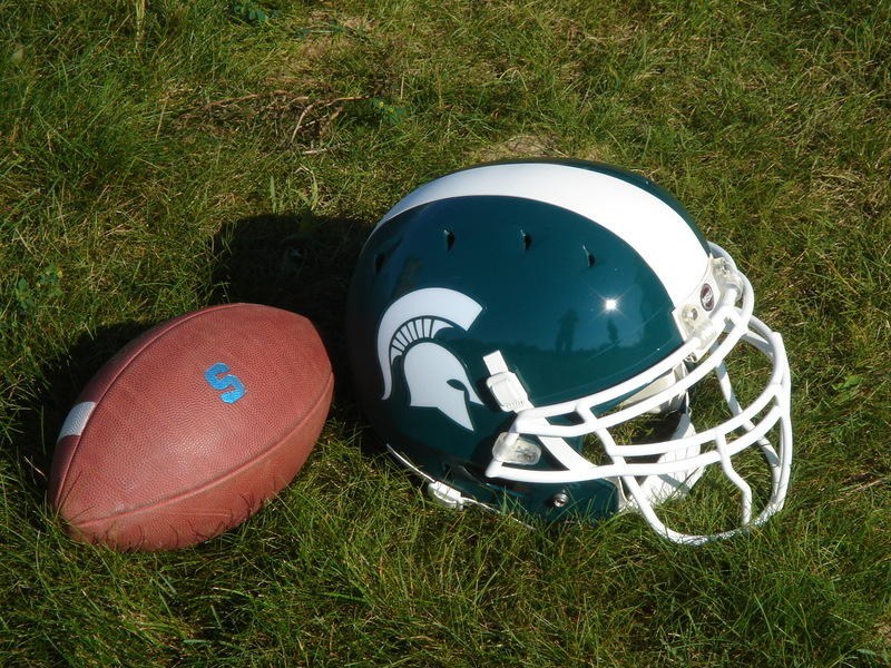 MSU football and helmet