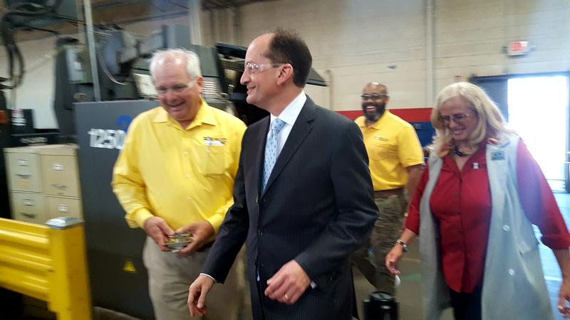 U.S. Secretary of Labor Alexander Acosta walking through the Milton Manufacturing plant in Detroit.
