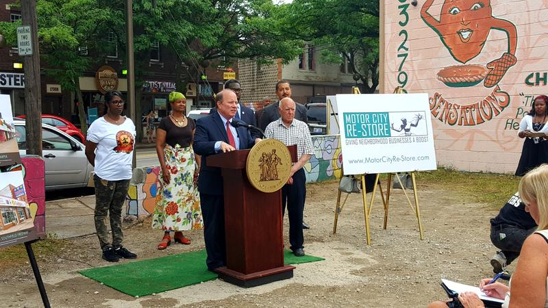 Mayor Mike Duggan announcing Motor City Re-Store plan on Detroit's westside