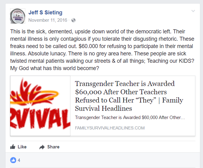 A post from Jeff Sieting's Facebook wall calling transgender identity a