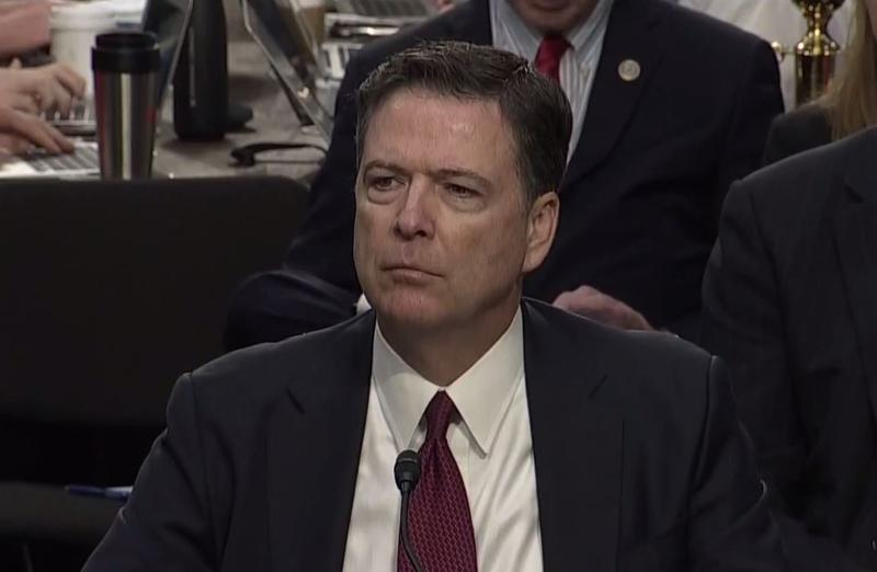 Former FBI Director James Comey testifies in front of the Senate Intelligence Committe on June 8, 2017.