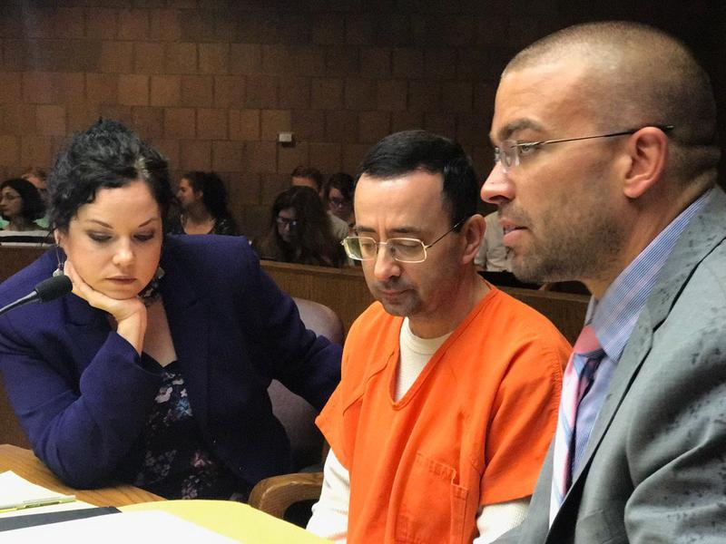 Larry Nassar in court in recent months with his attorneys, Shannon Smith and Matthew Newburg.