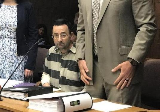 Larry Nassar at a hearing in Michigan earlier this year