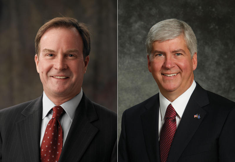 Michigan Attorney General Bill Schuette and Governor Rick Snyder
