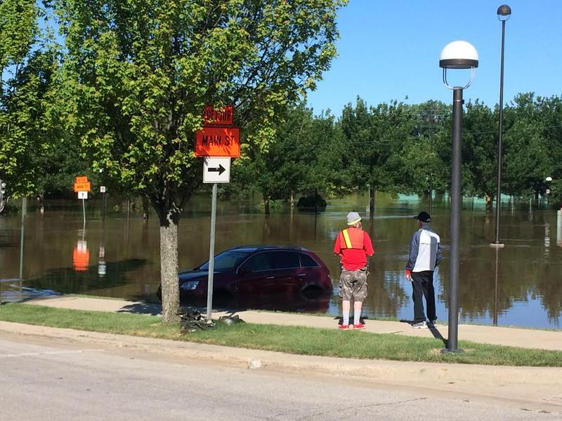 Flood waters crested in Midland Sunday.