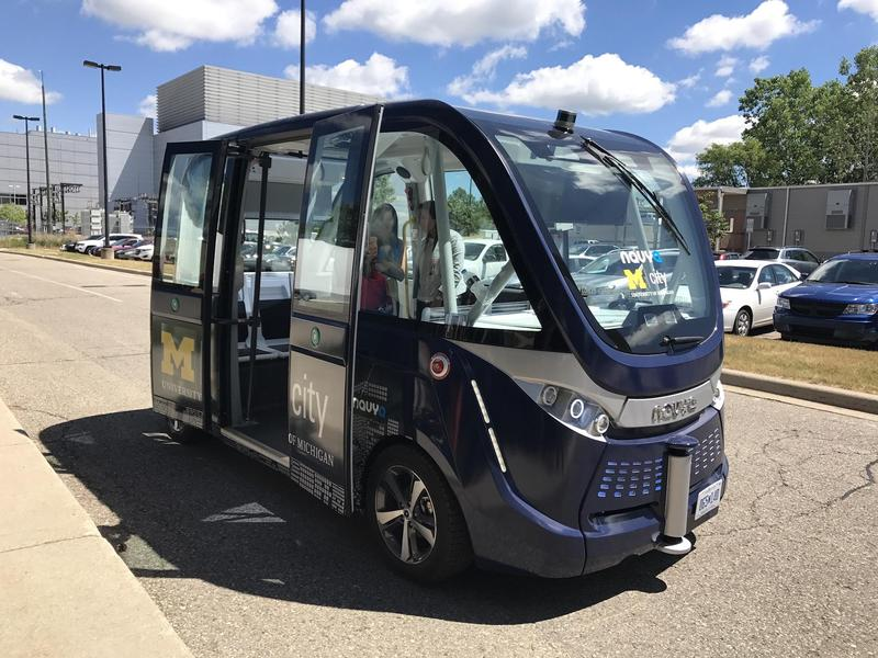 One of two fully autonomous Navya Arma vehicles that will shuttle students beginning this fall. They will be constructed in NAVYA's new Saline plant.