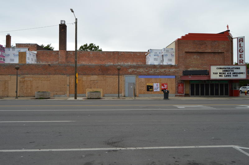 The boarded up exterior and roof where work is underway at the Alger Theater.