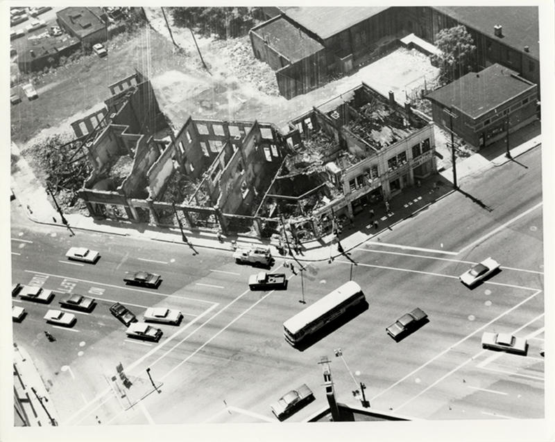 Black and white shot of destroyed buildings in Detroit in 1967.