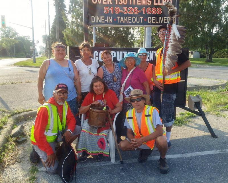 Josephine Mandamin(center) with fellow water walkers near Harrow, Ontario.