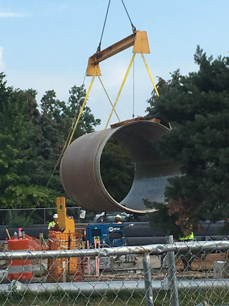 A pipe at a construction site