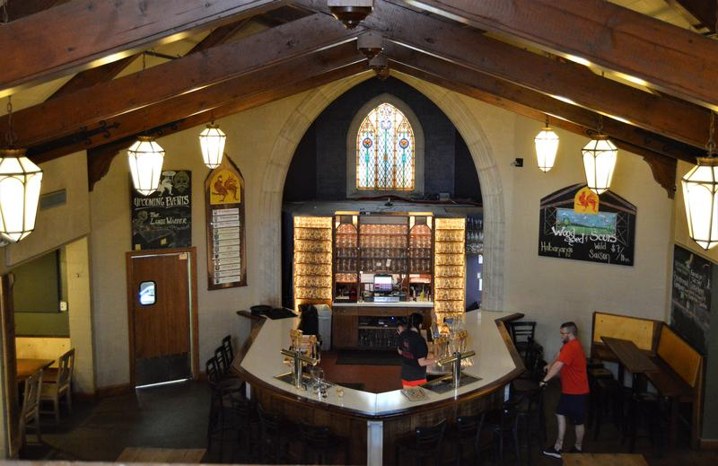 Brewery Vivant is housed in a former funeral home chapel.