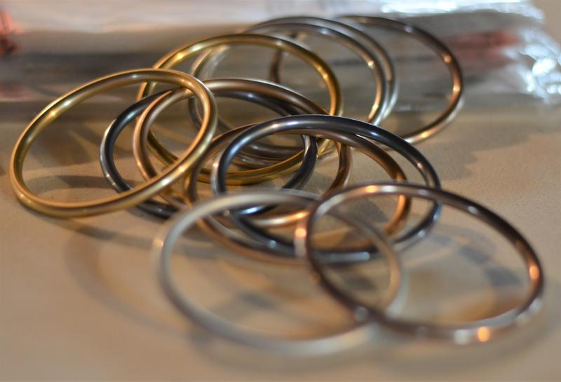 Some of the rings that will be used in ring-sling baby carriers.