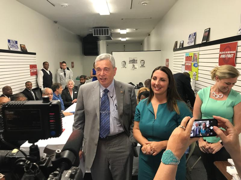 RNC national chairwoman Ronna McDaniel and Michigan Republican Party Chair Ron Weiser addressed the media for opening remarks, but the roundtable discussion was not made available to reporters.
