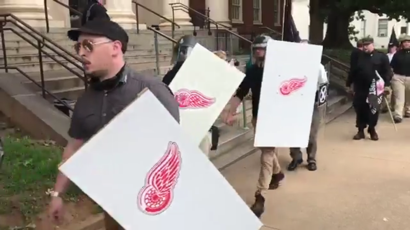 White supremacists manipulated the Red Wings logo by replacing the traditional wheel spokes with symbols used by Hitler's infamous SS unit.