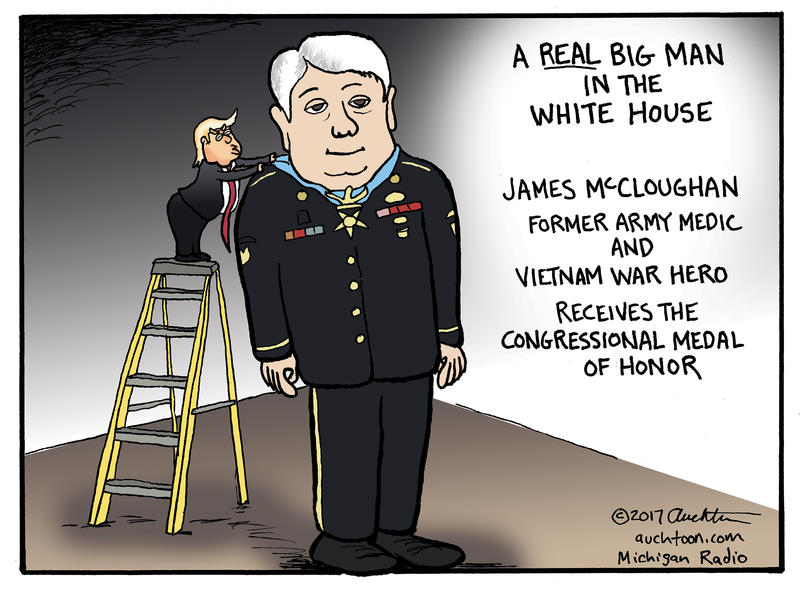 cartoon of trump on ladder giving James McCloughan medal of honor