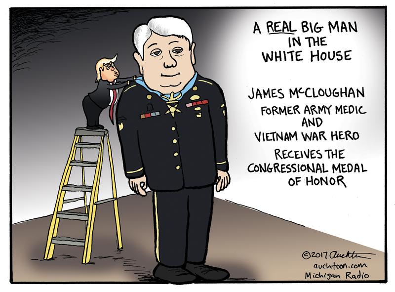cartoon of trump on ladder giving James McCloughan medal of honor
