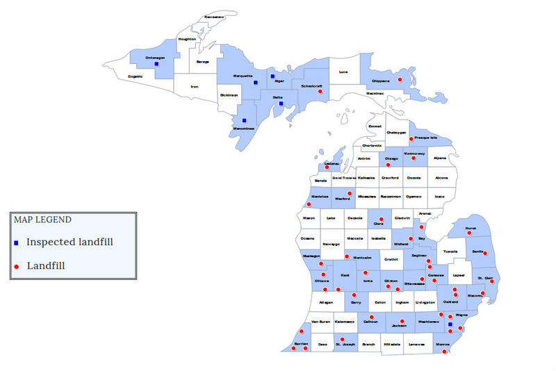 map of michigan w/ inspection details