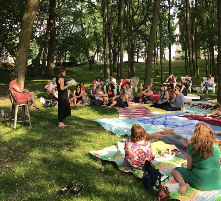 The Shady Ladies Literary Society debuted on June 17, 2017 with a picnic dinner in Elmwood Cemetery featuring authors Cristina Moracho and Julie Buntin.