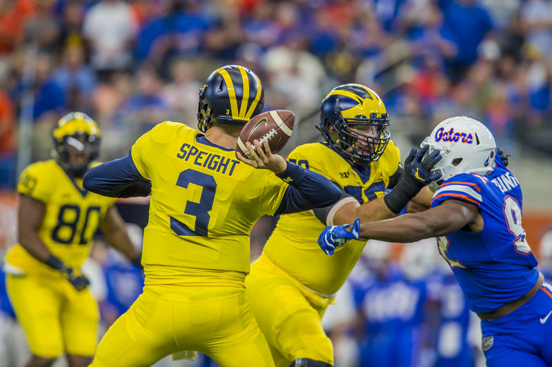The Michigan Wolverines are 3-and- 0, having beaten their first opponents pretty handily. But Michigan fans are concerned about the play of the quarterback, Wilton Speight.