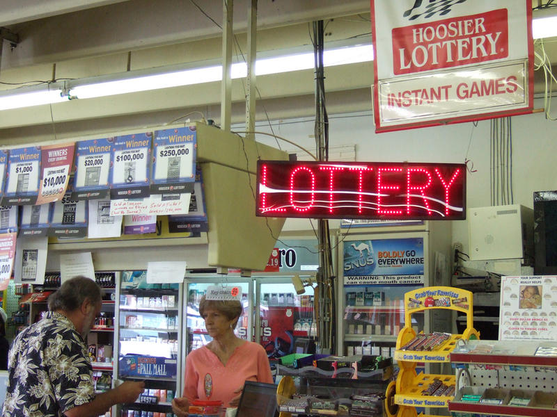 Indiana lottery counter in a convenience store