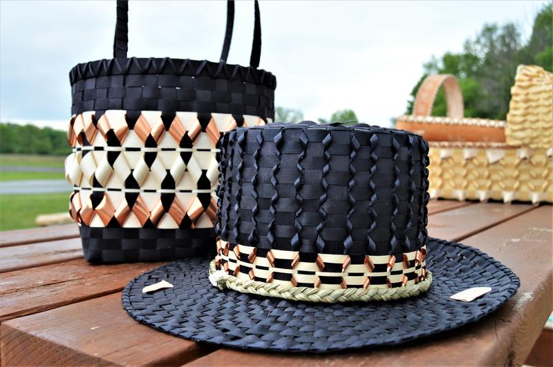 picture of baskets woven with copper