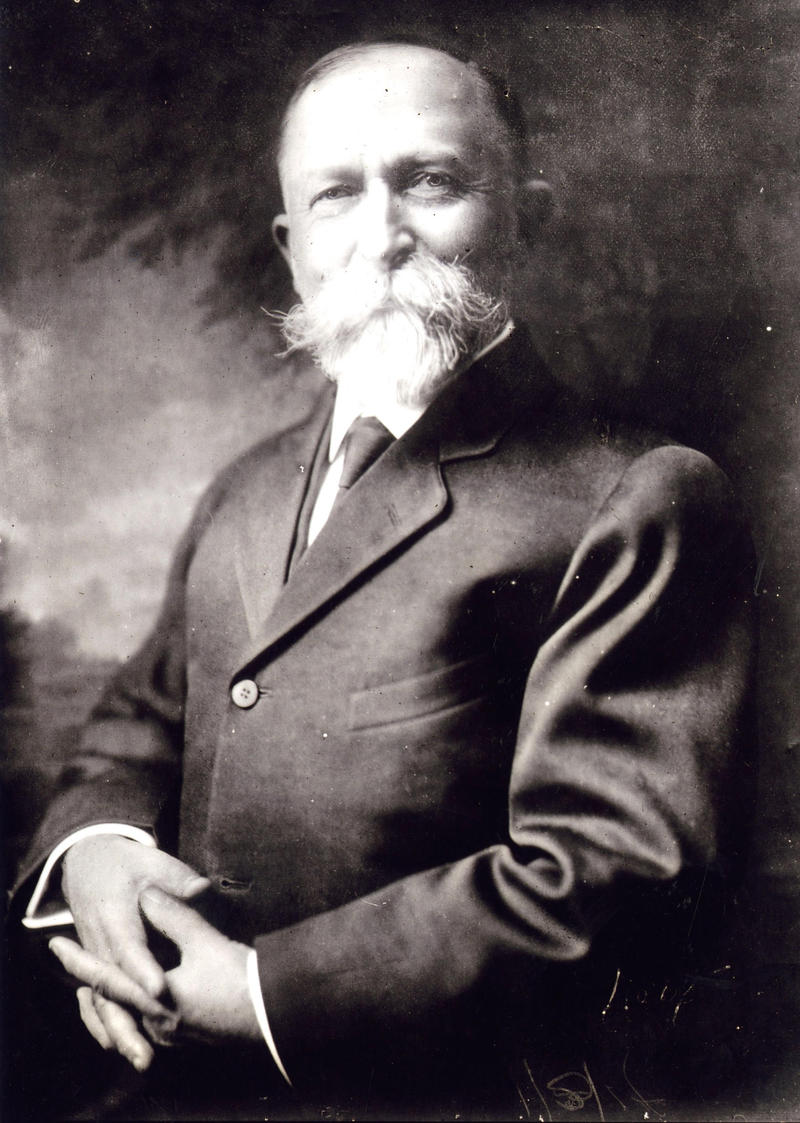 A portrait of the faboulously moustached Dr. John harvey Kellogg