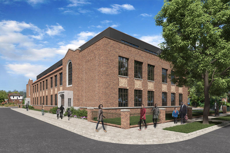 Rendering of renovated Transfiguration school building.