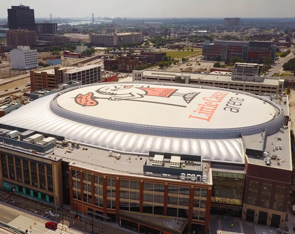 An aerial view of Little Caesar's Arena.