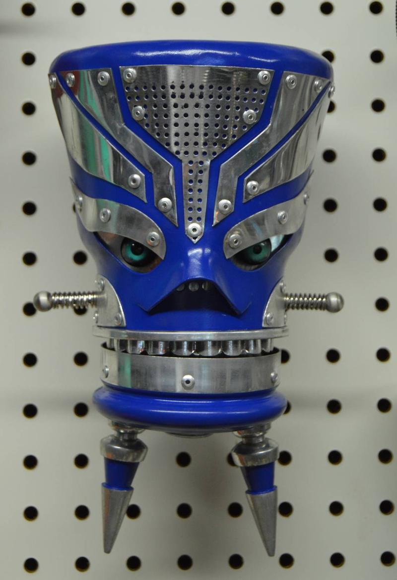 blue and silver robot head