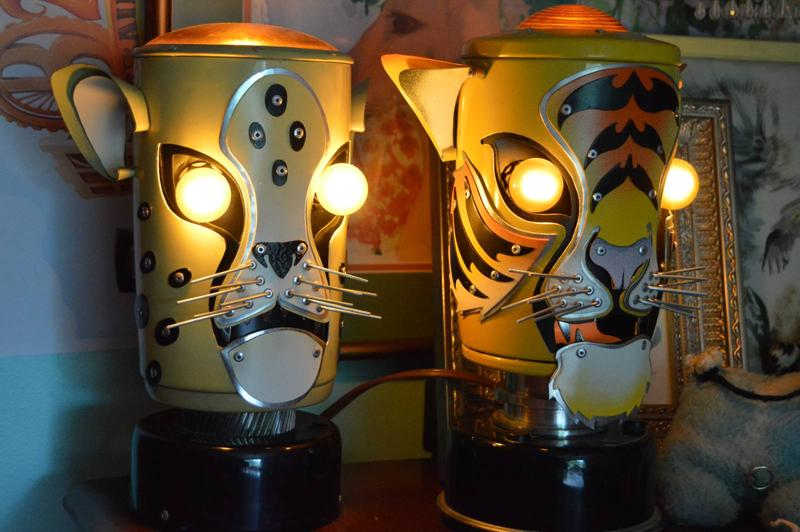 two tiger shaped robot lamps