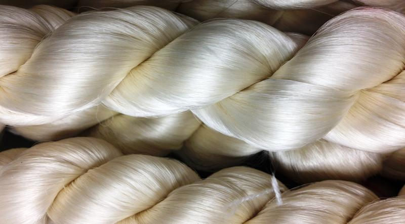 These silk threads are produced by silkworms but are based on the protein spiders use to spin a web.