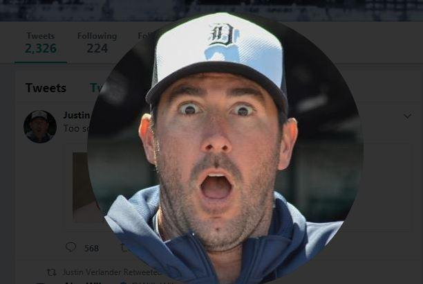 Justin Verlander's Twitter profile pic on Sept. 1, 2017.