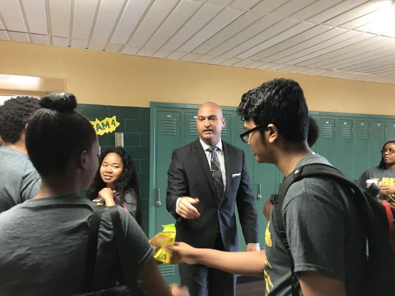 Superintendent Nikolai Vitti at a Detroit school