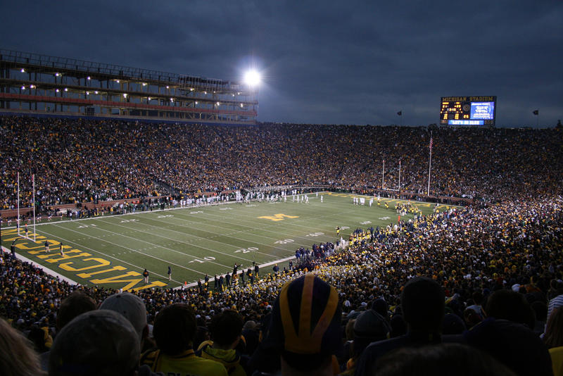Football game at Michigan Stadium at night