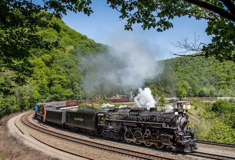 Steam Engine With Passenger Cars Ascending Horseshoe Curve Altoona (PA)