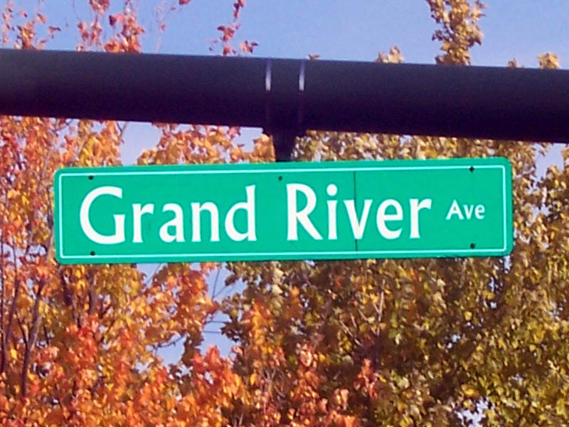 Grand River Ave. street sign in Lansing, Michigan.