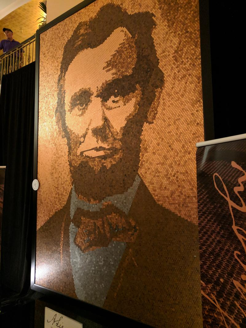 """A. Lincoln"" by Richard Schlatter, one of the winning pieces in this year's Grand Rapids ArtPrize"