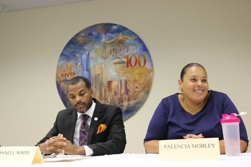 Donnell White, executive director of the Detroit branch of the NAACP, and Palencia Mobley, chief engineer of the Detroit Water and Sewerage Department, discuss Detroit water infrastructure.
