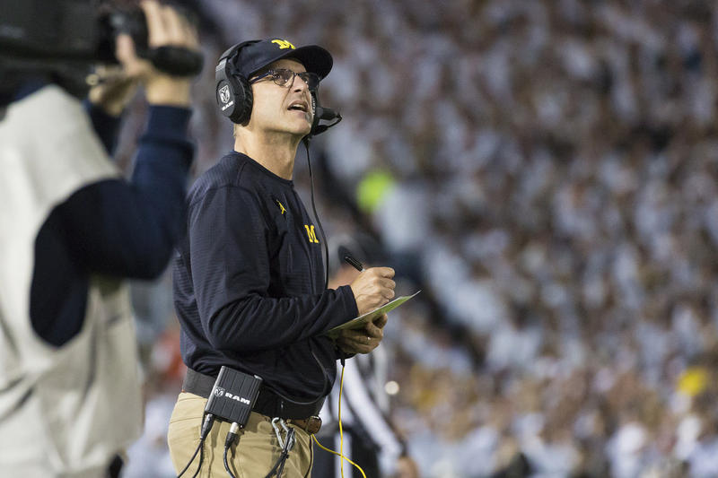 Jim Harbaugh during last week's Penn State game.