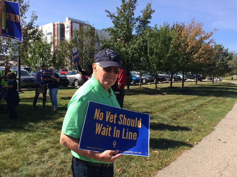 Retired veteran Jim Albertson at rally demanding more hiring at VA Hospitals