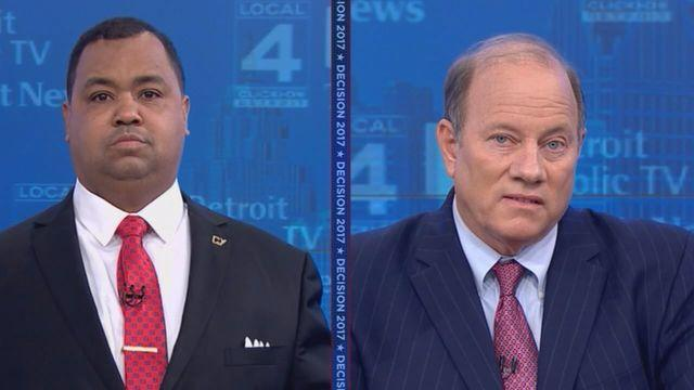 State Sen. Coleman Young II and Detroit Mayor Mike Duggan, during their debate broadcast from WDIV-TV's Detroit studios.