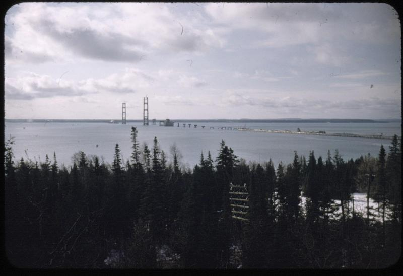 The Mackinac Bridge while under construction in the mid 1950s.