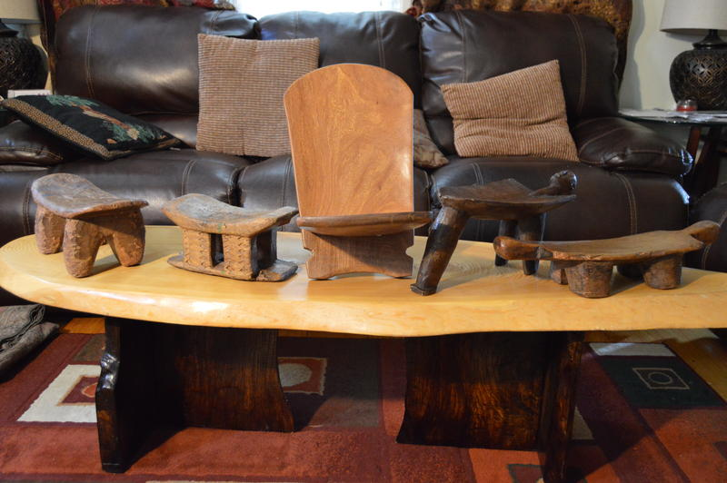Babacar Lo also builds rustic furniture from found wood.