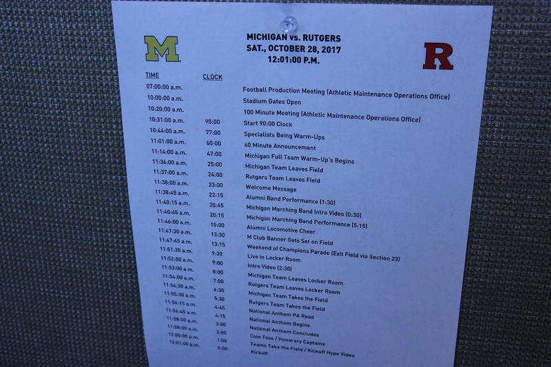 The game day rundown is scheduled down to the second. It's also posted in the press box to help reporters and camera crews.