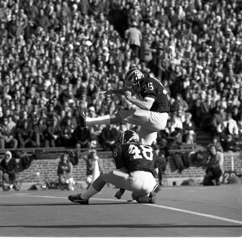 Mike Lantry kicks a field goal against Ohio State in 1973.