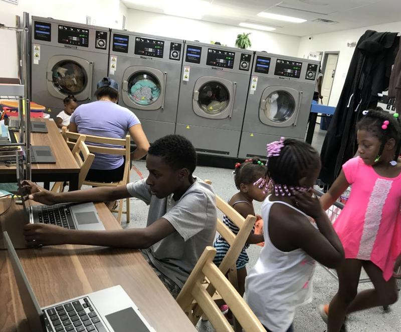 Wash and Learn started from an exploratory program with Libraries Without Borders to create pop-up literacy spaces. Laundromats proved to be incredibly popular places to host the program.
