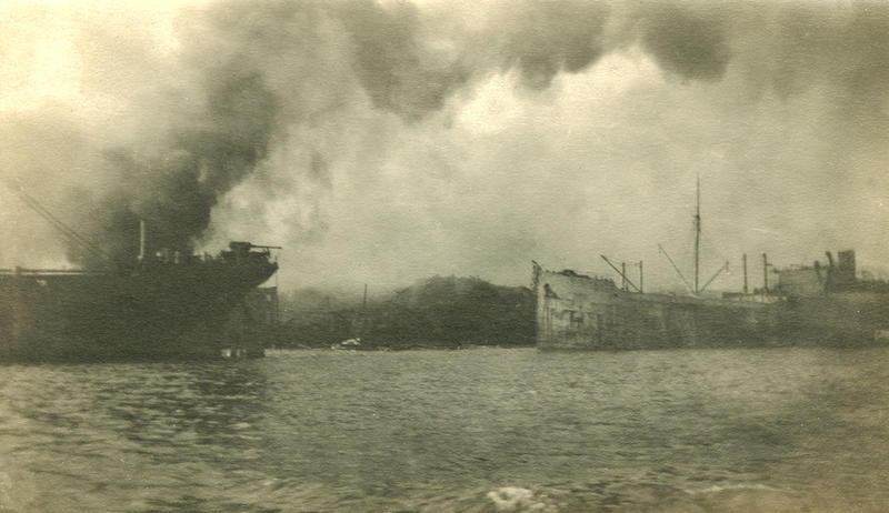 An image of the harbor minutes after the explosion